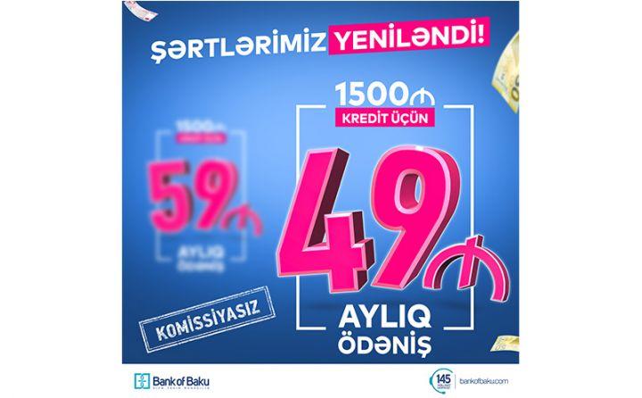 Bank of Baku şərtlərini yenilədi - 1500 AZN KREDİT 49 AZN ÖDƏNİŞLƏ!